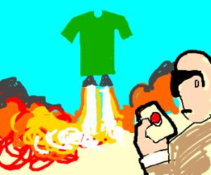 Blind man has a T-shirt launcher