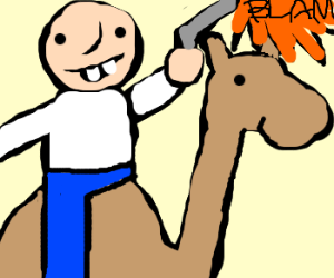 Man on 1 eyed camel firing gun.