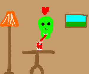 Radioactive skull enjoys Yoplait Yogurt