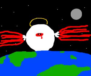 Floating eyeball alien observes earth