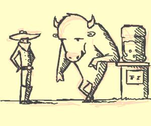 Buffalo talking to a cowboy.
