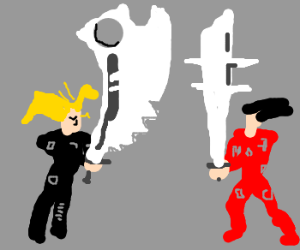 Some anime dudes with comical swords.