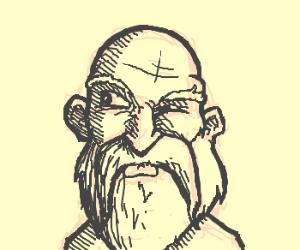 Bearded man glancing sideways