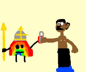 rainbow warriors gives padlock toafrican