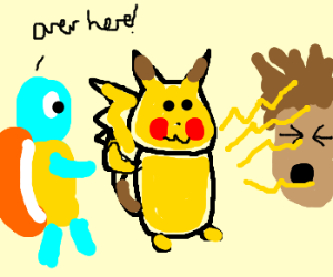 Pikachu ignores squirtle, shocks gary
