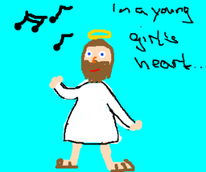 """Jesus sings: """"in a young girl's heart"""""""