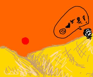 Soccer ball spouts jibberish in desert.