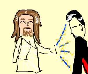 Jesus blesses Dracula