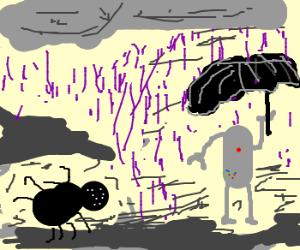 Spidey watches purple rain fall on robot