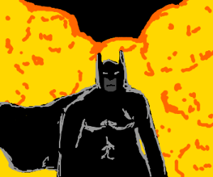 Batman walks away from an explosion