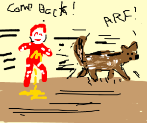 Ronald Mcdonald has to pee, chases dog?