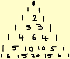 Pascal's triangle 0->11->121->1331.