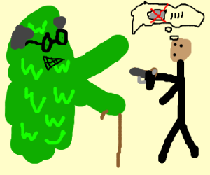 Old green yeti attacking man out of amo