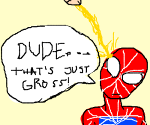 a man pees of a spiderman masked