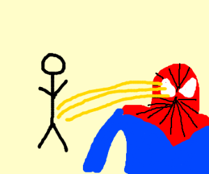 Someone peed in Spidermans eye!