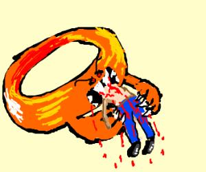 Man getting eaten by ring monster
