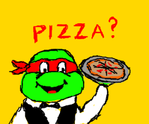 ninja turtle asks if others want pizza