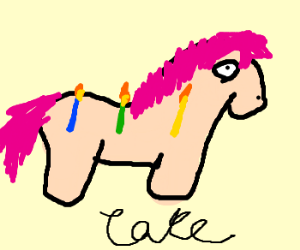 pony cake w/3 candle