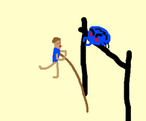 polevaulter interrupted by giant tick
