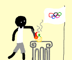 use torch to light onion at olympics