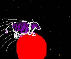 A cow jumping over Mars