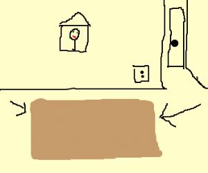 a brown rug.