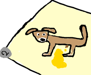 Puppy pees all over Drawception panel