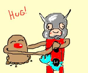 Diglett w/ arms hugging AntMan