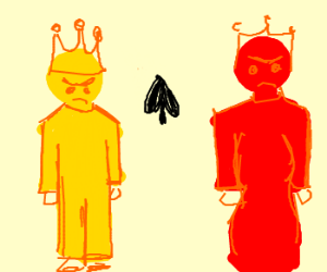 Yellow king and red queen arguing
