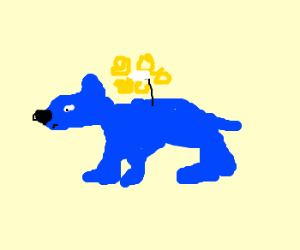 blue dog with a flower on its back