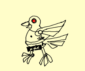 Naked cyborg pigeon w/ tiny man in belt