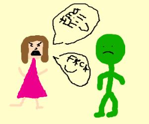 woman threatens and curses at greenman