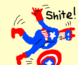 Captain America trips over his shield