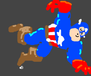 Captain America trips and falls