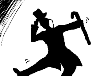 Dapper silhouette prancing about