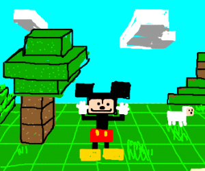 mickey mouse has his hand at minecraft