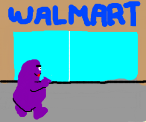 Grimace goes to Wal-Mart