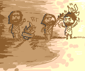 drawing of Homo erectus discovering fire