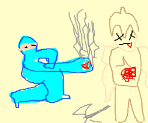 Mega Man beats Gladiator, uses his power
