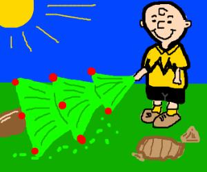 Charlie Brown plants a christmas tree