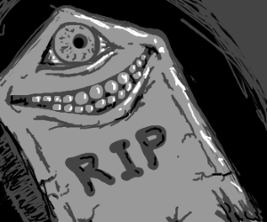 Smiling tombstone with creepy eye