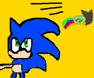 Sonic tries to mindbend nyancat