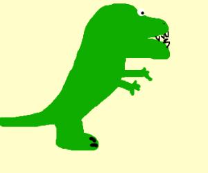 Very bad drawing of a green dinosaur