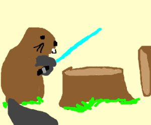 Beaver now use lightsabers to fall trees