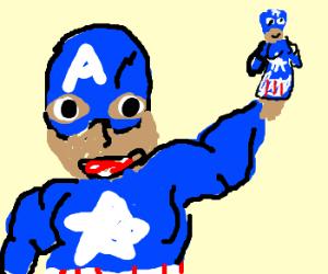Cpt.America's hand is a mini Cpt.America