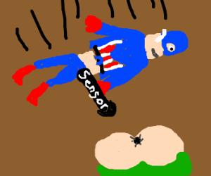 captin America falls happy