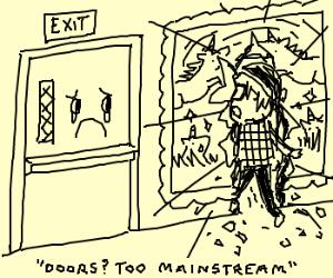 Hipster walks thru art instead of exit