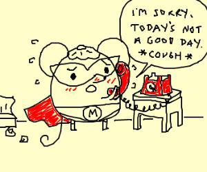 sick little superhero mouse