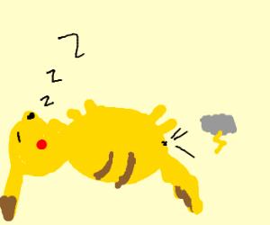 pikachu farts lightning storms in sleep