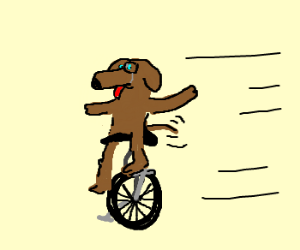 a dog on a unicycle, wearing a monocle
